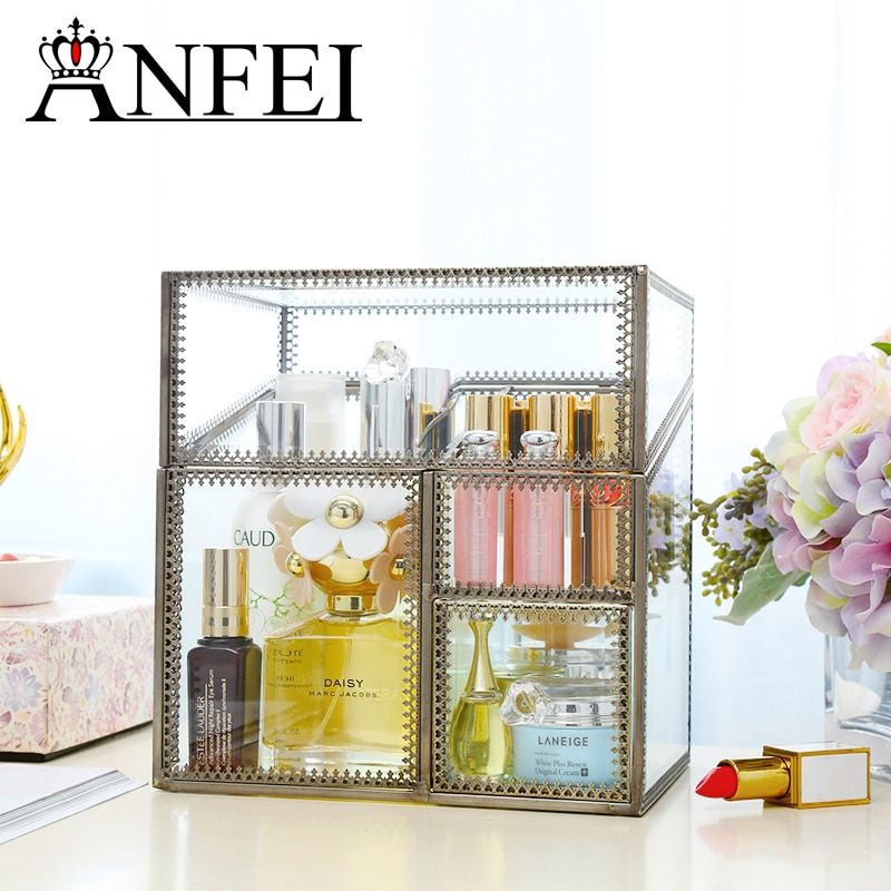 ANFEI New Design Bronze Materials Glasses Storage Drawer Clear Makeup Storage Box Large Cosmetic Organizer C218-33