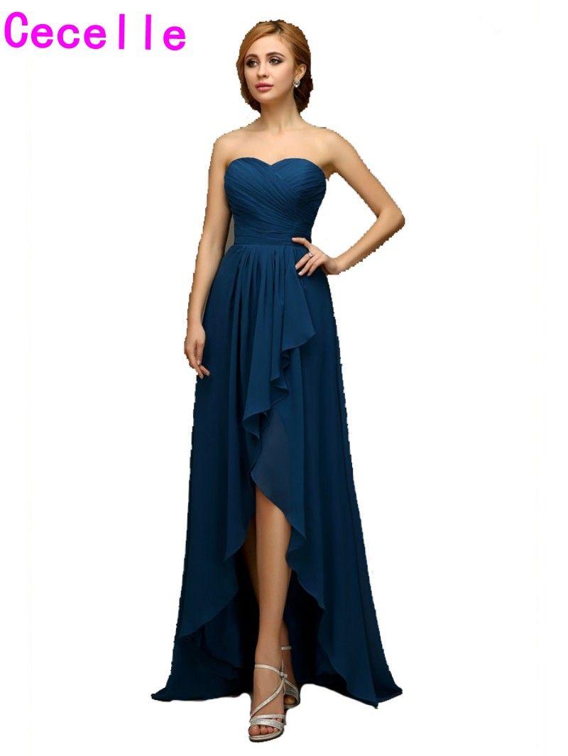 2017 Réel Haut Bas Bleu Plage Demoiselles D'honneur Robes Chérie Plis de Mousseline de Soie Court Avant Long Retour Pays Demoiselle D'honneur Robes Vente