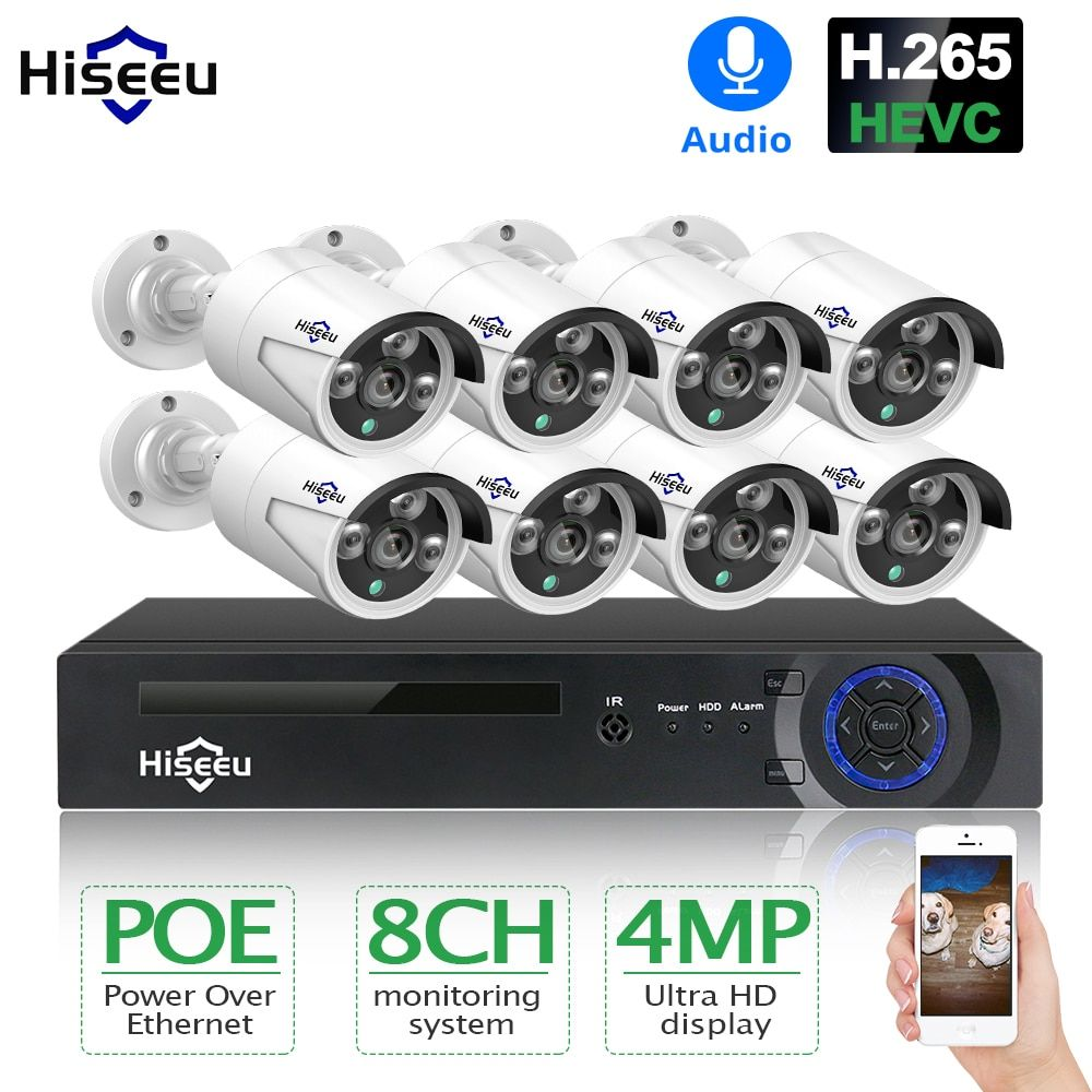 Hiseeu H.265 8CH 4MP POE Security Camera System Kit Audio Record IP Camera IR Outdoor Waterproof CCTV Video Surveillance NVR Set