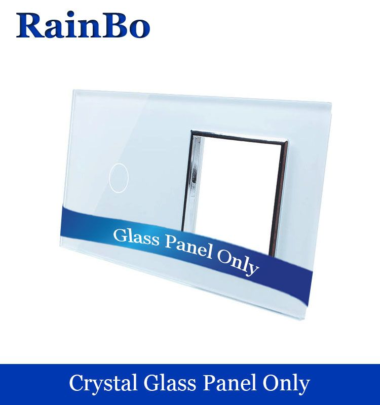RainBo Free shipping Luxury Crystal Glass Panel 2Frame 1gang touch wall switch socket hole EU for DIY Accessories A2918W1