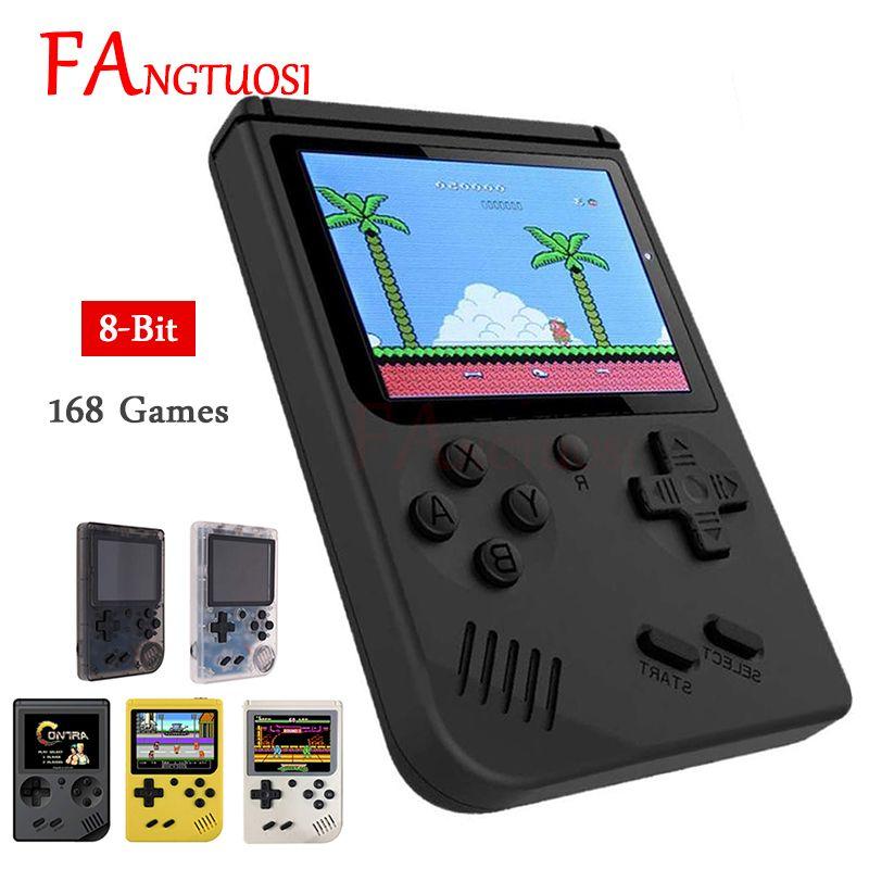 FANGTUOSI Console de jeu vidéo 8 bits rétro Mini poche lecteur de jeu de poche intégré 168 jeux classiques pour enfant lecteur nostalgique