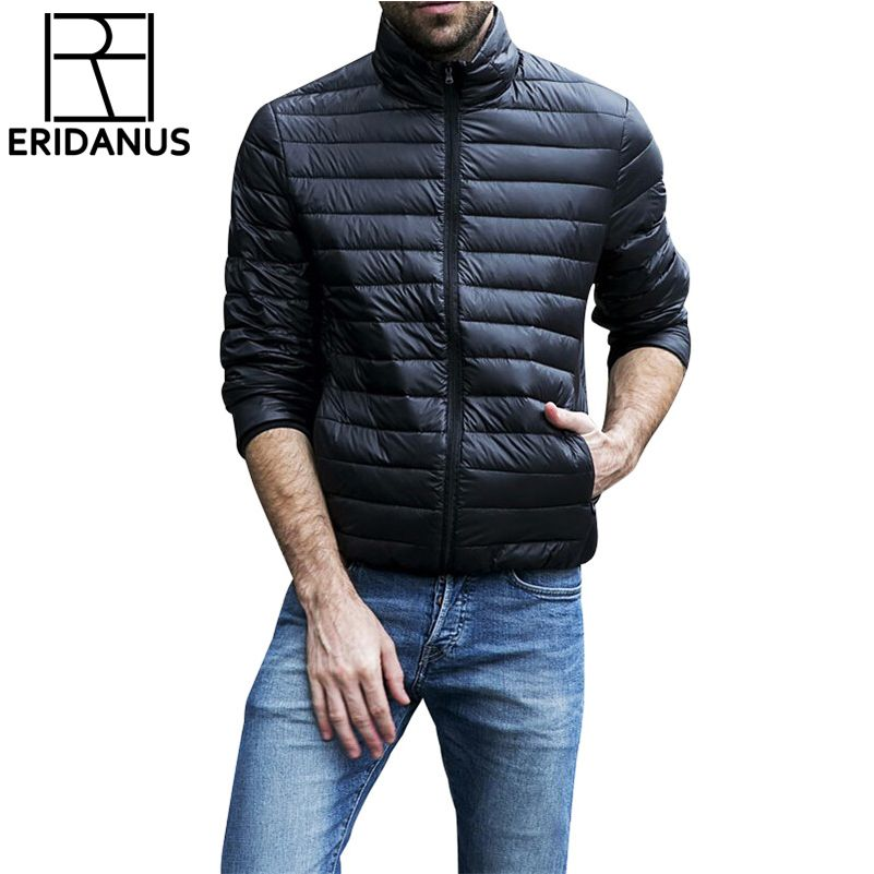 Autumn Winter Jacket Men 2016 New Couples <font><b>Thin</b></font> Coats 90% Duck Down Ultra-light Slim Stand-Collar Cotton-Padded Solid Parkas X353