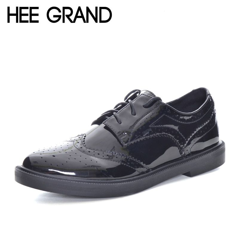 HEE GRAND Patent leather Retro Oxford Shoes Women British Style Bullock Lace-up carved Flats  XWD6018
