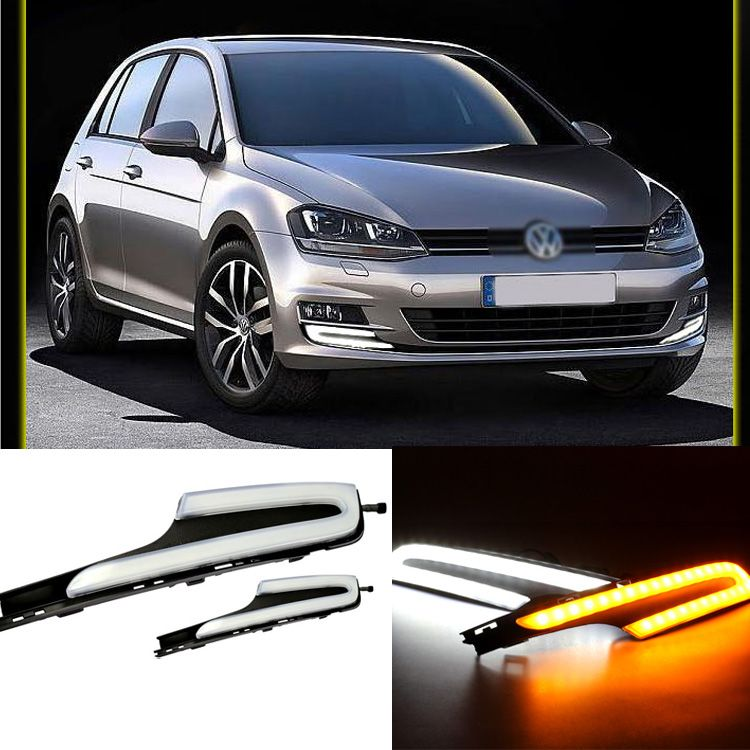 Ownsun Brand New Updated Daytime Running Lights DRL With Yellow Turn Signal For VW Golf 7 2014-15