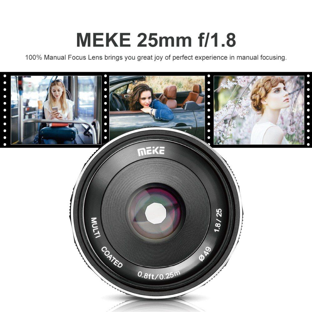 Meike 25mm f1.8 Große Blende Weitwinkel Objektiv Manuelle APS-C Für Sony E Mount kameras A7RII A7RIII NEX-5 NEX-7 a6000 A6500 A7