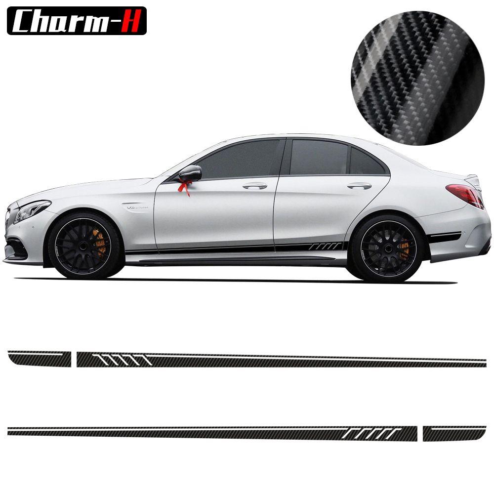 507 décalcomanies à rayures latérales C63 AMG Edition pour Mercedes Benz W204 classe C Stickers-5D Fibre de carbone/noir/jaune/blanc/Silvergrey