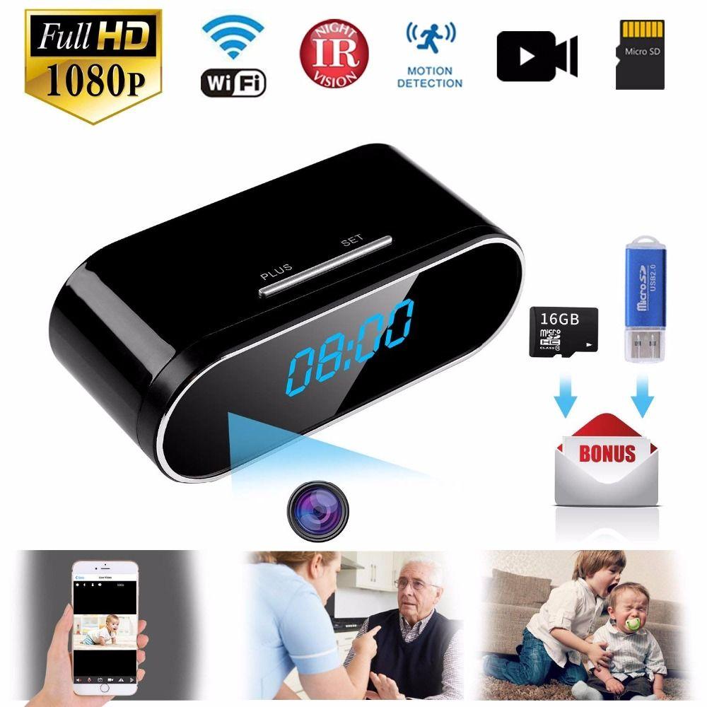 1080P WIFI Mini Kamera Zeit Wecker Wireless Motion Sensor IP Sicherheit Nachtsicht Micro Home Remote Monitor versteckte TF karte