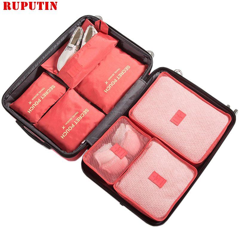Rupoutine nouveau 7 pièces/ensemble de haute qualité Oxford tissu Ms voyage sac en maille dans le sac organisateur de bagages emballage Cube organisateur pour vêtements