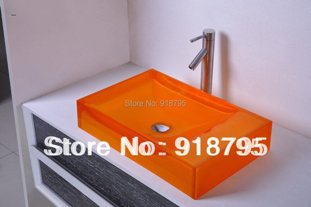 Rectangular Bathroom Resin Counter Top Sink Vessel Cloakroom Vanity Above Counter colored washbasin RS38247-590