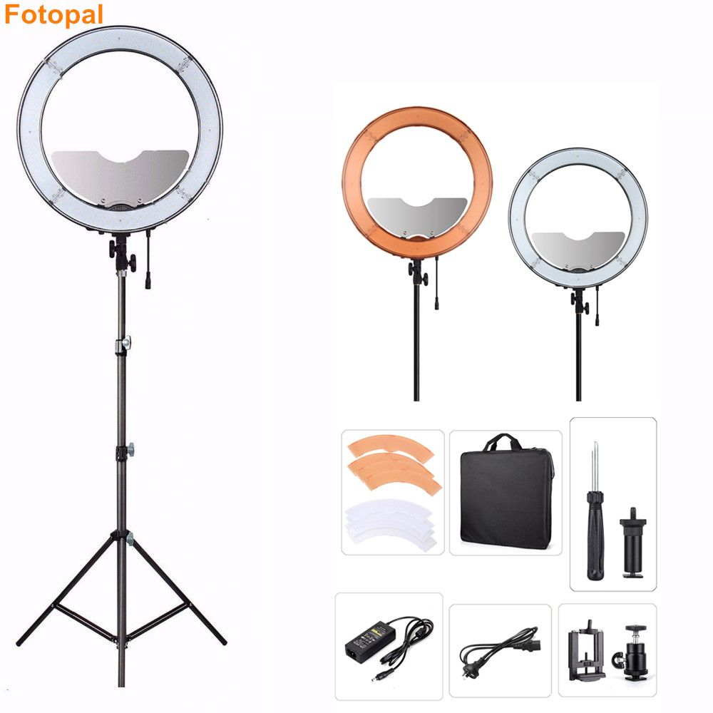Fotopal Dimmable LED Photo Ring Light With Tripod Mirror For Youtube Makeup Studio Video Camera Photography Annular Lamp 480
