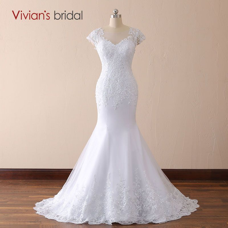 Vivian's bridal 2018 White Ivory Mermaid Lace Wedding Dresses V neck Backless Court Train Women Floor-length Bridal Gown Custom