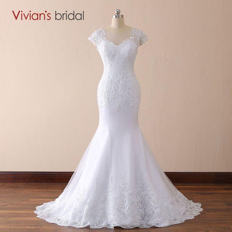 Vivian's bridal 2018 White Ivory Mermaid Lace Wedding Dresses V neck Backless Court Train Women Floor-length Bridal Gown Custom