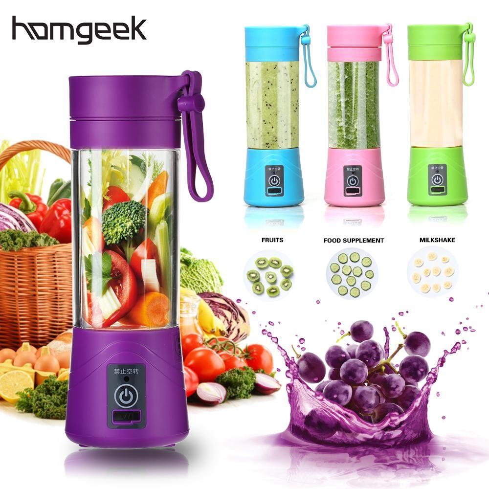 Homgeek 4 Farben Smoothie Maker Mixer Schütteln Langsam Entsafter Mini Tragbare USB Aufladbare Elektrische Obst Entsafter Maschine