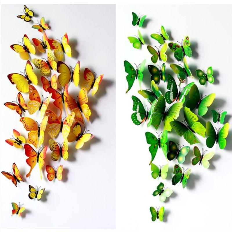 12 teile/satz DIY 3D Schmetterling wandaufkleber steuern dekor für wohnzimmer, schlafzimmer, küche, wc, und festliche hochzeit dekoration ws006
