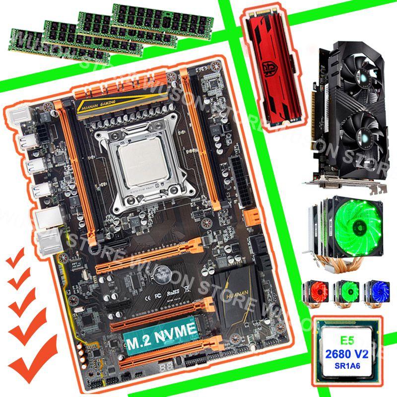 HUANAN ZHI X79 gaming PC motherboard bündel 240g NVME SSD GTX1050Ti 4g CPU Xeon E5 2680 V2 SR1A6 kühler RAM 4*8g DDR3 1600 RECC