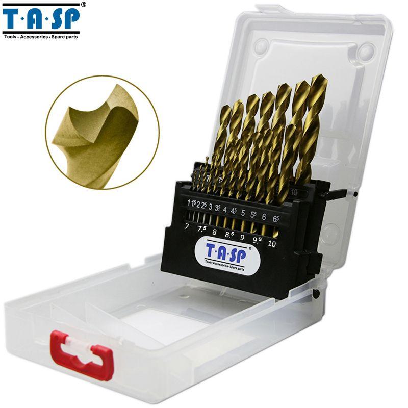 TASP 19pcs HSS <font><b>Drill</b></font> Bit for Metal Titanium Coated High Speed Steel Drilling Bits Set 1.0~10mm Power Tools Accessories - MDBK14