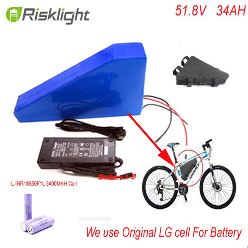 51.8V 34AH 14S Ebike Triangle lithium battery 52V 34Ah li-ion battery pack for 8fun BBS03 48V 1000W mid drive motor Use LG Cell