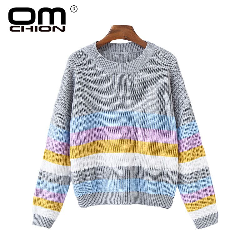 OMCHION Sueter Mujer 2018 Autumn Winter Korean Retro Strip Sweater Women Casual Loose Knit Pullover Fashion Female Jumper LMM184
