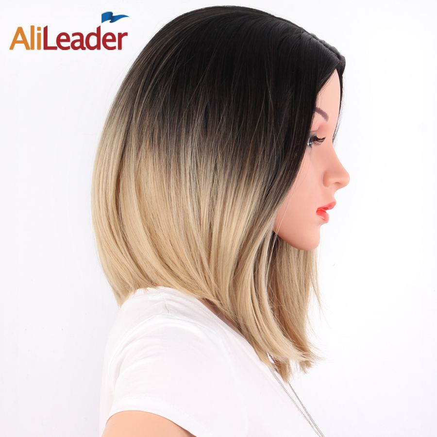 AliLeader African American Bob Wigs Short Shoulder Length Ombre Blonde <font><b>Green</b></font> 8 Colors Straight Synthetic Wigs For Black Women