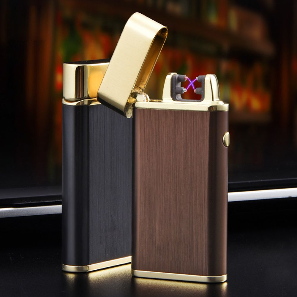 2017 NEW USB Rechargeable Electric Arc Lighters Classic Personalized Cross Double Pulse Arc Lighter Smokeless Wood Stone