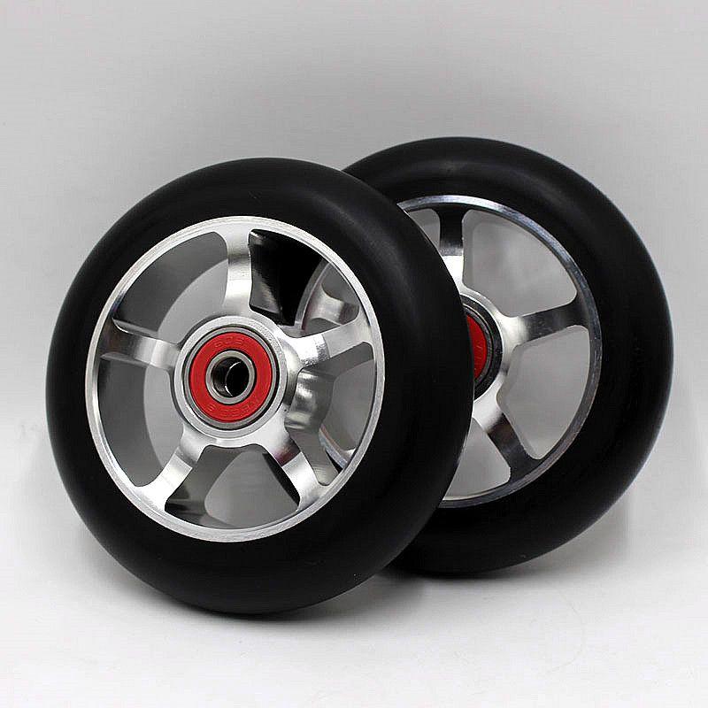 2 шт. хорошее качество трюк скутер колёса 100 мм с алюминий сплав концентратора ABEC-9 608 подшипники 88A колеса для роликовых коньков