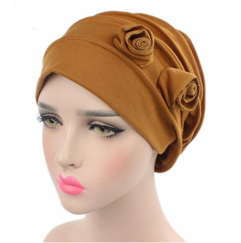 2017 Fashion Women Hats Two Flower Women's Beanies Hats Turban Hats Skullies Hair Accessory Bandana Hair Cover Chemotherapy Hats