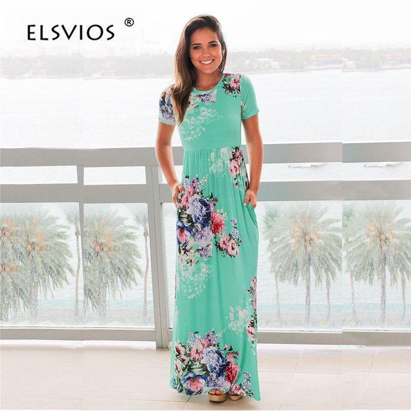 ELSVIOS Women Bohemia Floral Print Summer Dress 2018 Casual Short Sleeve O Neck <font><b>Beach</b></font> Boho Long Dress Loose Maxi Dresses Vestido