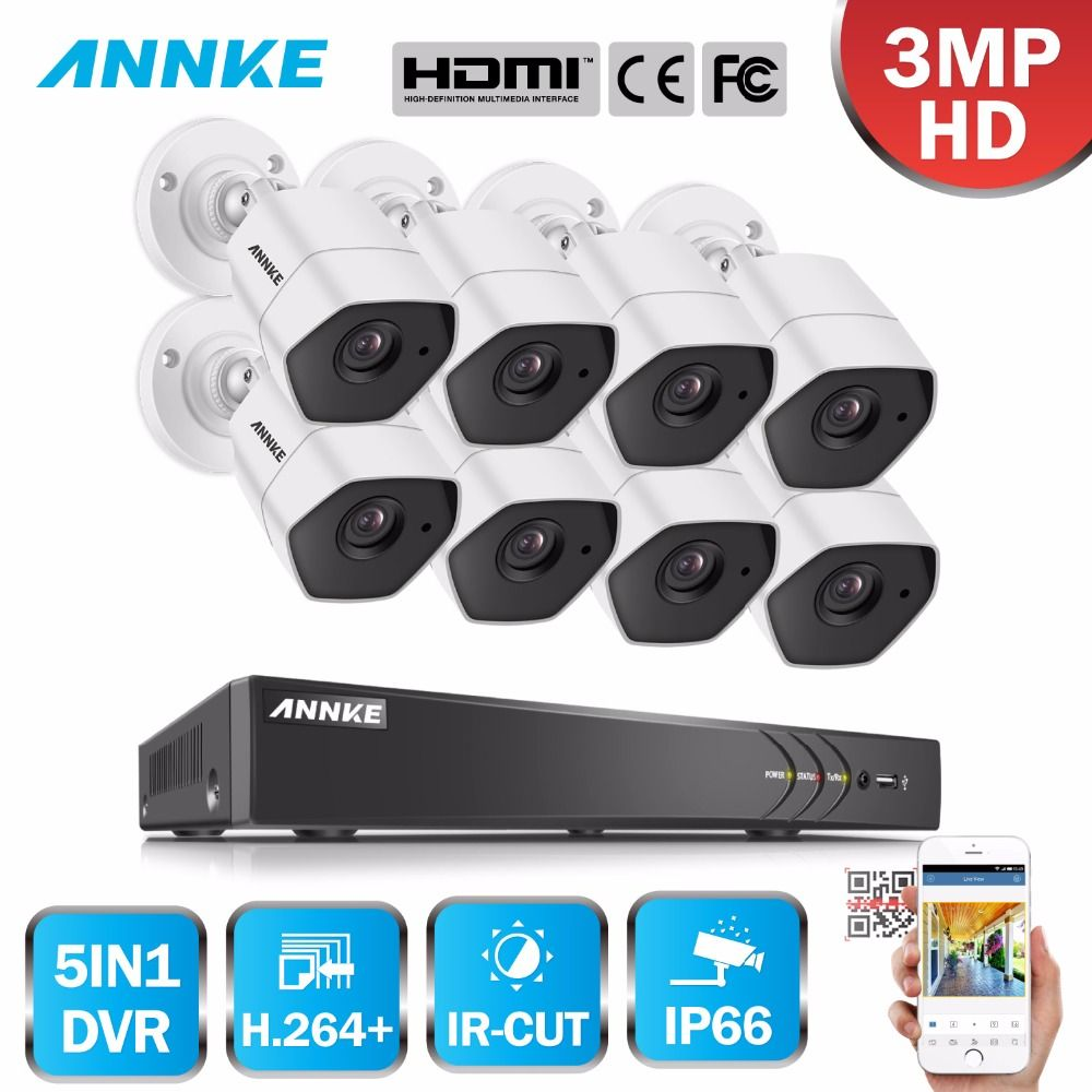 ANNKE Full HD 8CH 3MP 5in1 H.264+ CCTV System Security Camera IR Cut Night Vision Outdoor Waterproof 3MP Video Surveillance Kit