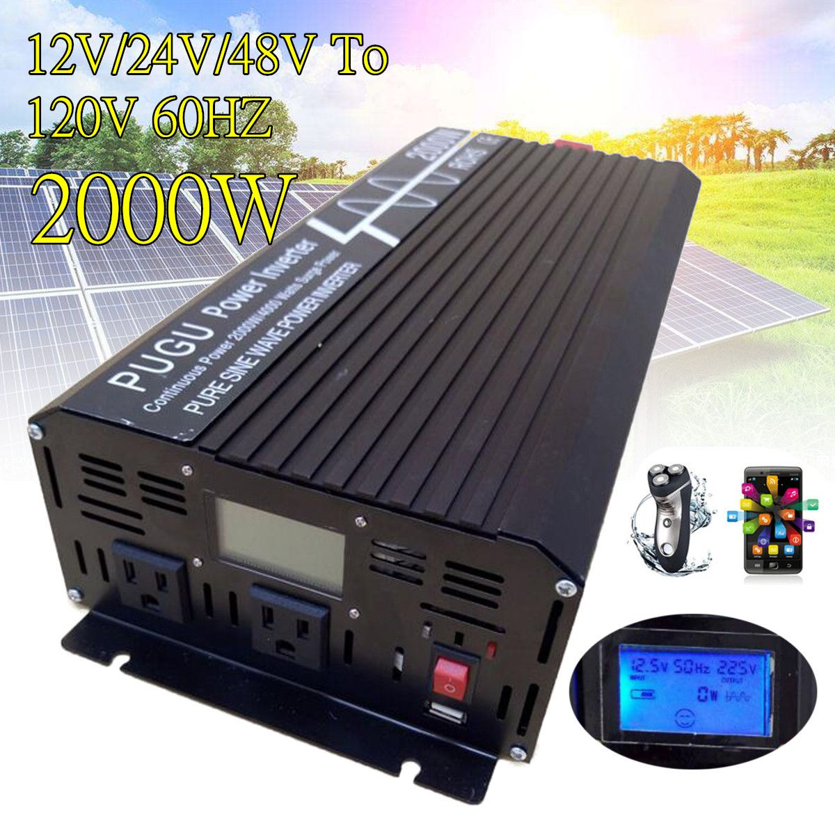 2000W Car Pure Sine Wave DC to AC Power Inverter P eak 4000W 12V/24V/48V to 120V/220V With LCD Display USB For Car