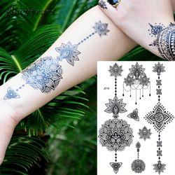1 unid moda Flash impermeable tatuaje mujeres negro Henna joya Sexy encaje BJ019 flor colgante Wed Henna tatuaje temporal stick
