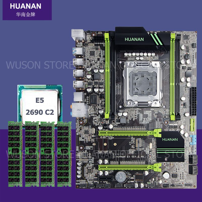 Brand new motherboard with M.2 slot HUANAN ZHI X79 motherboard bundle with CPU Xeon E5 2690 C2 2.9GHz RAM (4*4)16G DDR3 REG ECC
