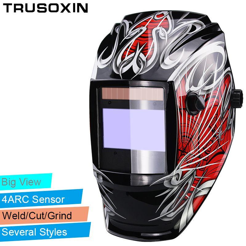 Batterie rechargeable Pro 4 capteur d'arc solaire Auto Darken/ombrage meulage Tig Arc grande vue casque de soudage/soudeur lunettes/masque/capuchon