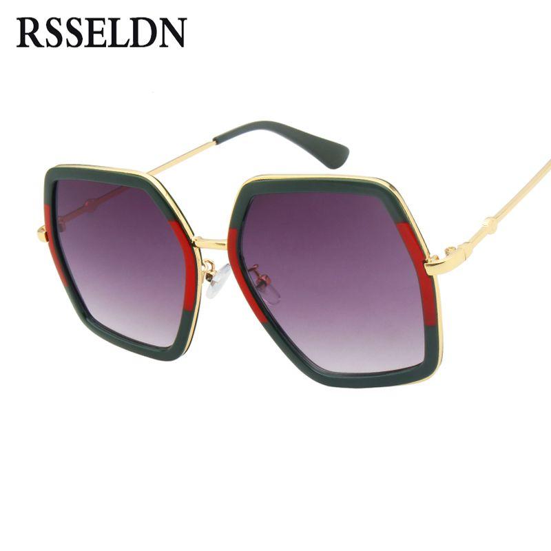 RSSELDN Hexagone De Mode lunettes de Soleil Femmes Marque De Luxe 2018 Gradient Lentille Lunettes de Soleil Pour Femmes Carré Surdimensionné Shades Femelle UV