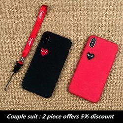 Boîtier en plastique de luxe pour iPhone 7 dur question Couple costume coque cas pour iphone 6 6 s 6 plus 7 plus 8 X CDG jouer Amour téléphone couverture
