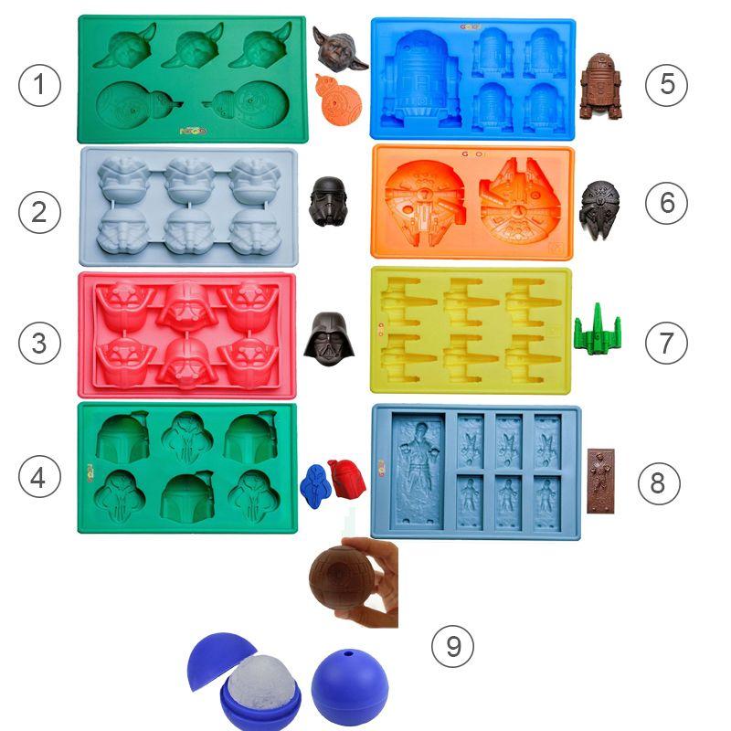 9pcs Star War Ice Cube Trays Silicone Ice Mold Death Star Ice Mold Ice Form Candy Silicone Molds Darth Vader Yoda Master