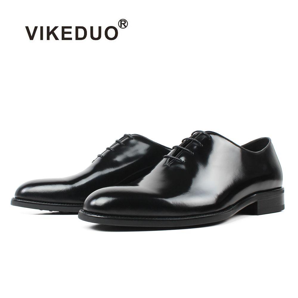 VIKEDUO Heißer Handgemachten männer Oxford Kleid Schuhe 2019 Schwarz Echtes Leder Männlichen Schuh Lace-up Hochzeit Büro Formale zapatos Hombre