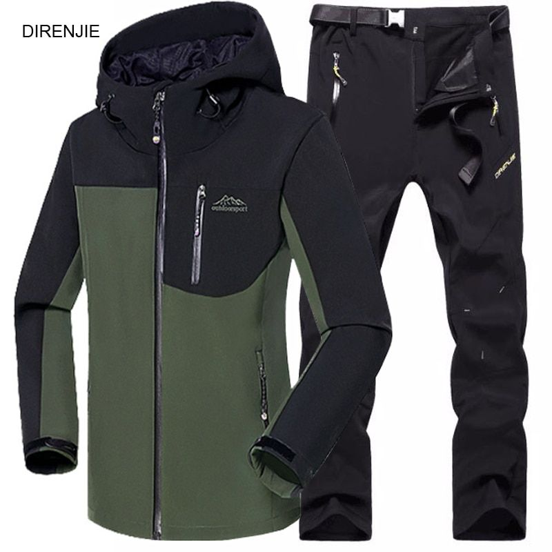 5XL Homme D'hiver de Pêche Étanche Trekking Camping Randonnée Climb Polaire SoftShell Extérieure Veste Pantalon de Sport Veste + Pantalon Costume
