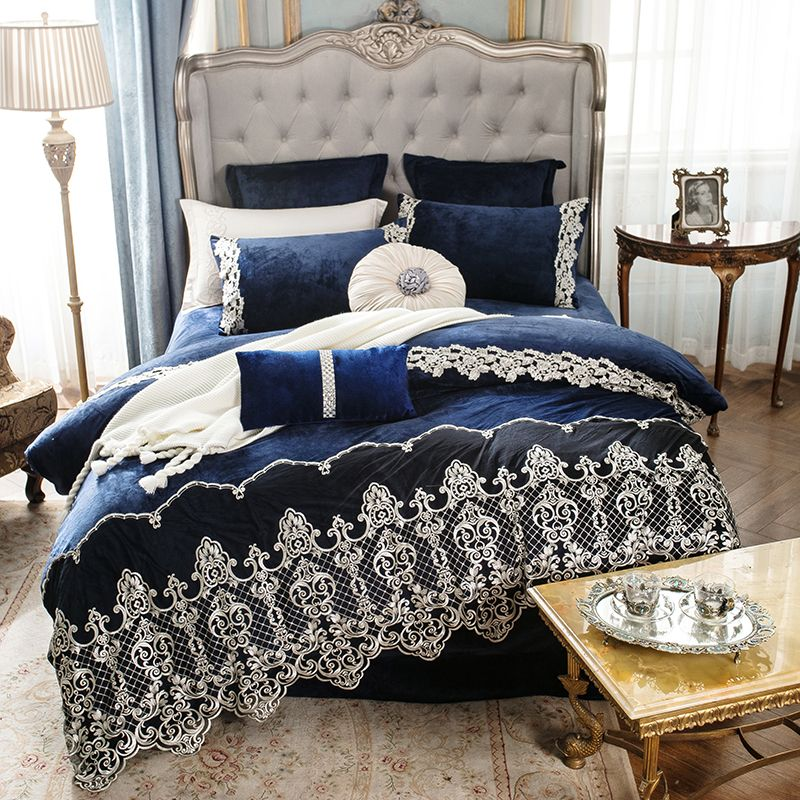Crystal Velvet Flannel Luxury Lace Bedding set Winter Warm Fleece Smooth Duvet cover Bed Sheet Pillowcases Queen King size 4pcs