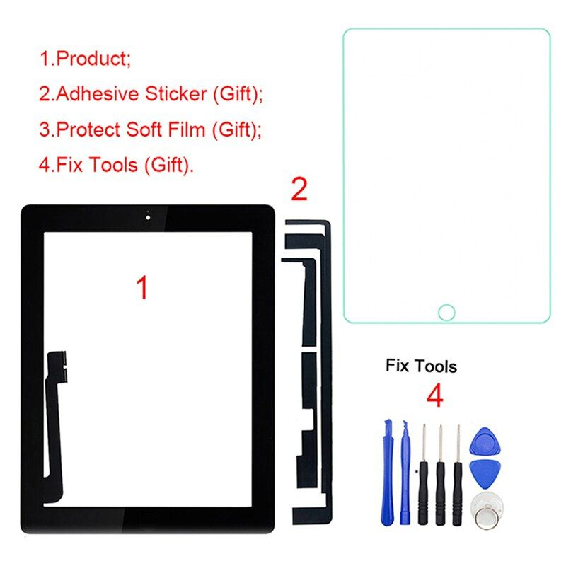 1Pcs For iPad 4 4th Gen A1458 A1459 A1460 9.7 LCD Outer Touch Screen Digitizer Front Glass Panel Replacement