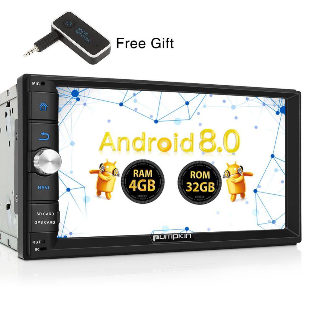 Pumpkin 2 Din 7'' Android 8.0 Universal Car Radio No DVD Player Qcta-Core GPS Navigation Car Stereo Wifi 4G Bluetooth Headunit
