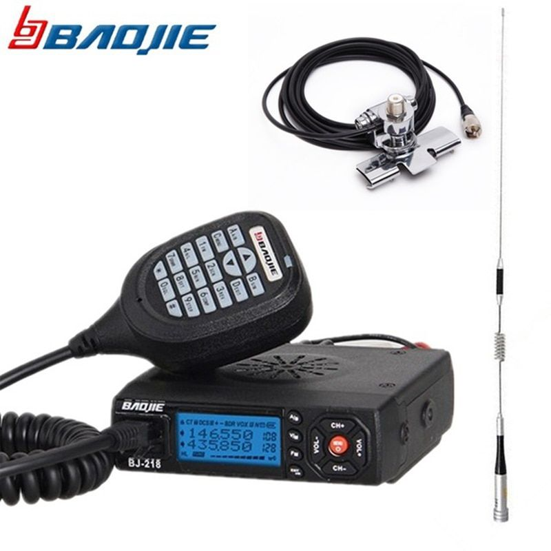 Baojie BJ-218 Mini Mobile Radio 20KM 25W Dual Band VHF/UHF Car Walkie Talkie 136-174mhz 400-470mhz bj218 Station Transceiver