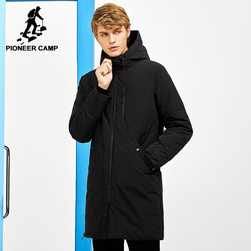 Pioneer Camp New thick winter men's down jackets brand clothing hooded black solid long warm white duck down coat male AYR705257