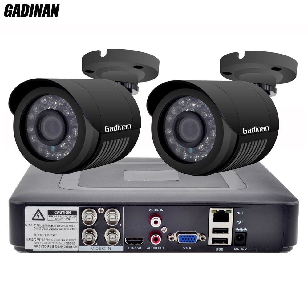 GADINAN 4CH AHD DVR Security CCTV System with 2PCS 2MP 1080P <font><b>Optional</b></font> CCTV Camera Waterproof Camera Video Surveillance Kit