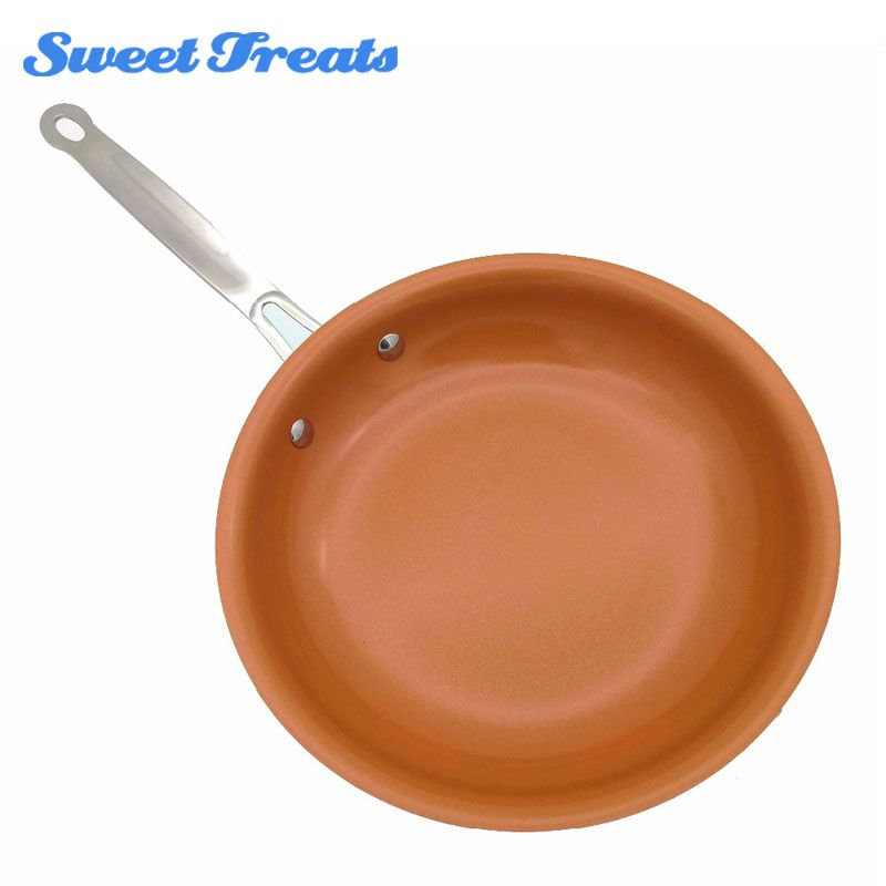 Sweettreats Non-stick Copper Frying Pan with <font><b>Ceramic</b></font> Coating and Induction Cooking,Oven & Dishwasher safe 10 Inches 12Inch