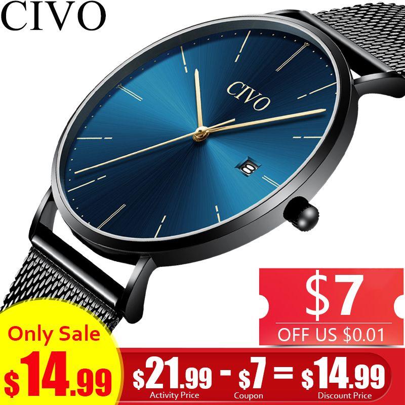 CIVO Business Men Watches Top Brand Luxury Waterproof Ultra Thin Analogue Blue Face Quartz Wrist Watch Men Clock Horloges Mannen