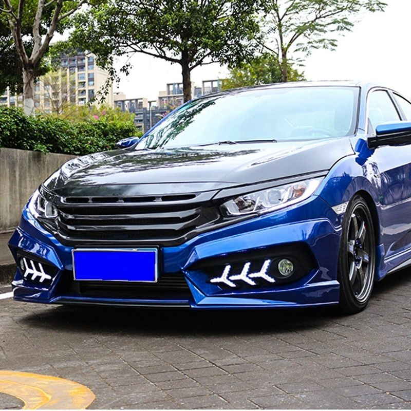 Automobile Exterior Tuning Racing Grills For Honda Civic 2016 Carbon Fiber Grille Fit For Civic 2017 Front Bumper Grille
