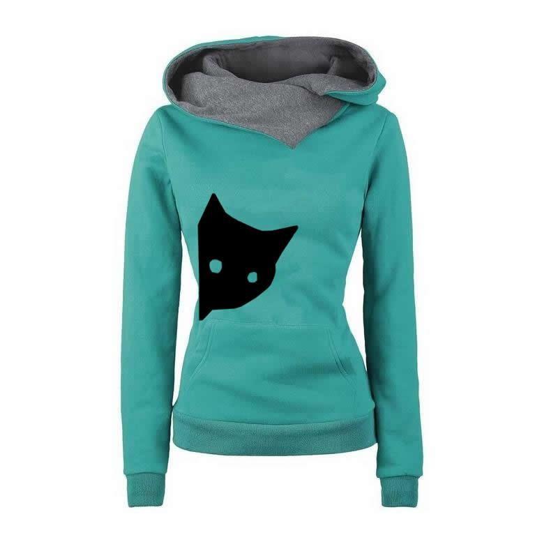 2018 New Fashion Cat Print Sweatshirt Femmes Casual Loog Sleeve Hoodies Sweatshirts Pattern Comfortable Street Thick Pullovers