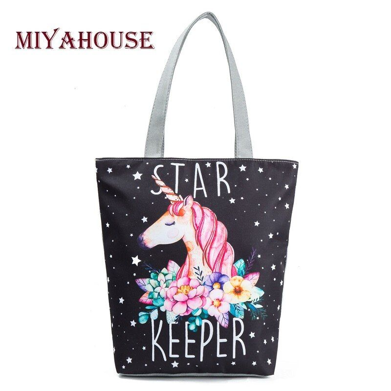 Miyahouse Casual Canvas Tote Handbag Women Cartoon Unicorn Printed Shoulder Bag Female Summer Beach Bag Shoulder Bag Lady