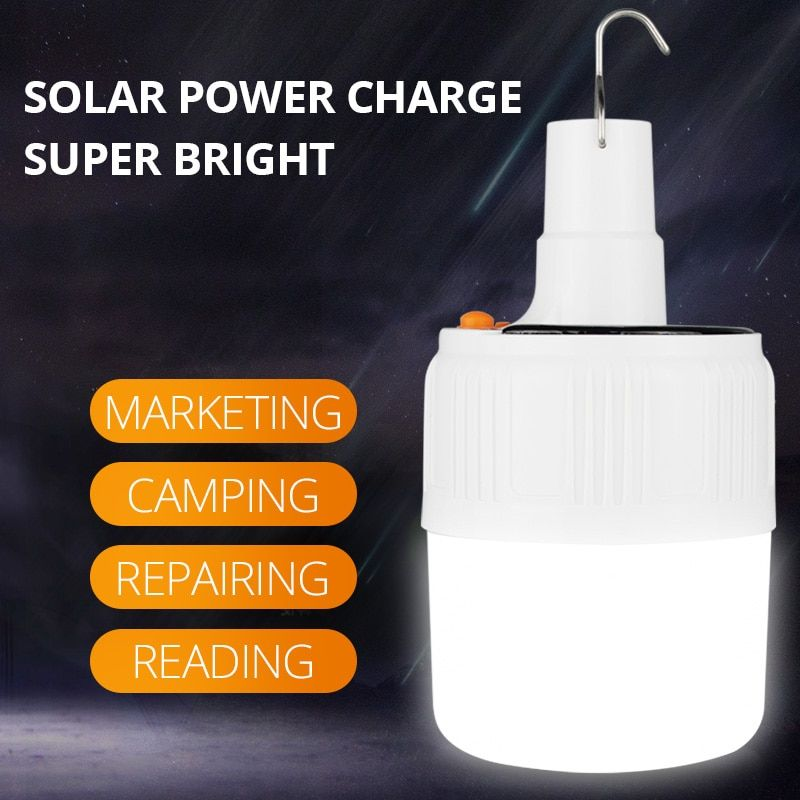 SHENYU Rechargeable LED Bulb Lamp Solar Charge Portable Emergency Night Market Light Outdoor Camping Home