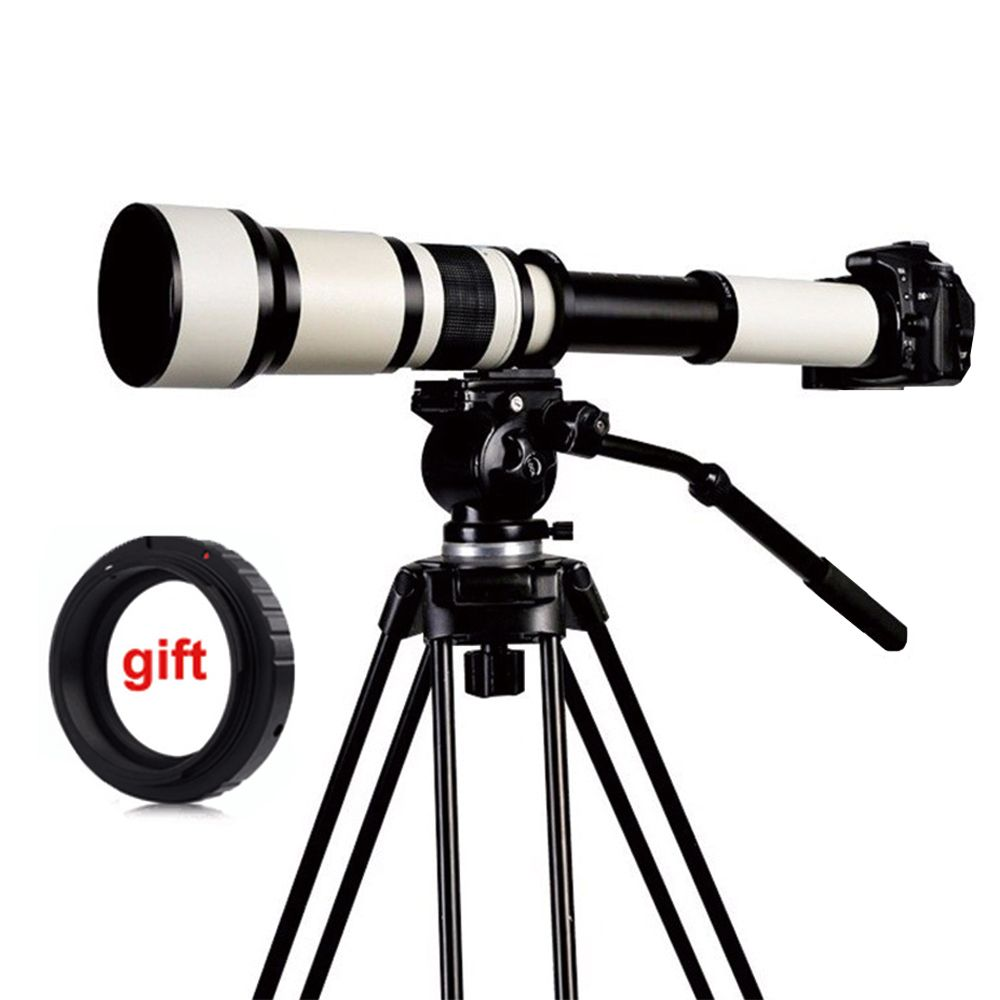 650-1300mm F8.0-16 Super Telephoto Manual Zoom Lens + T2 Adapter for DSLR Canon Nikon Pentax Olympus Sony A6300 A7RII /GH4 GH5